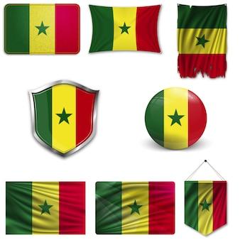 Set of the national flag of senegal