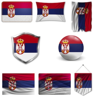 Set of the national flag of serbia