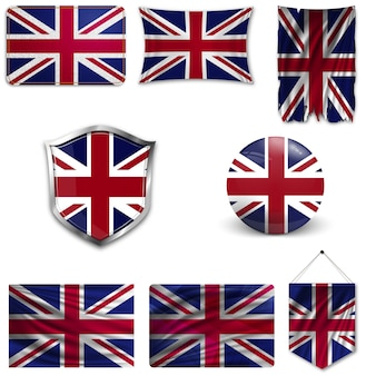 Set of the national flag of united kingdom