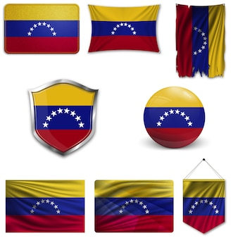 Set of the national flag of venezuela