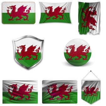 Set of the national flag of wales