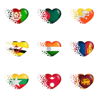 Set of national flags with fly out small hearts