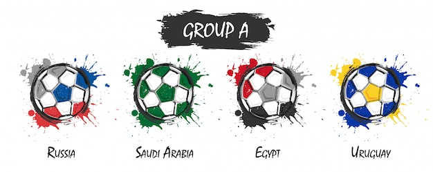 Set of national football team group a . realistic watercolor art paint with stained splash