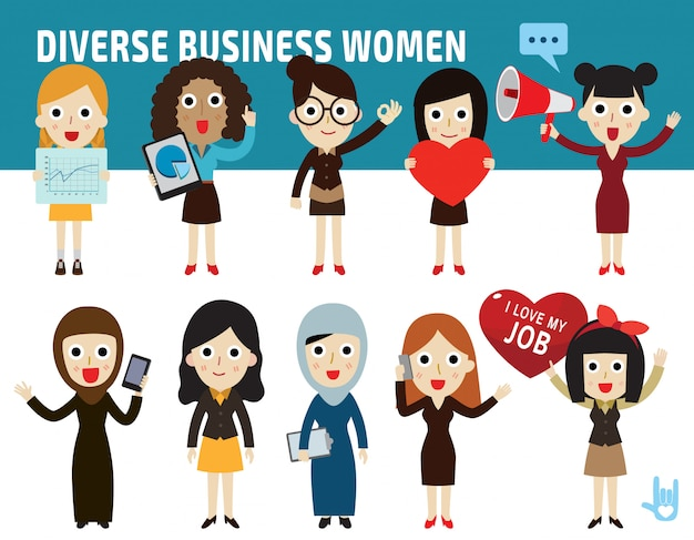 Set nationality difference poses of business women flat cartoon icon design