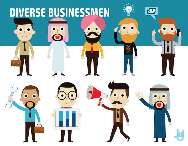 Set nationality difference poses of businessman flat cartoon icon design