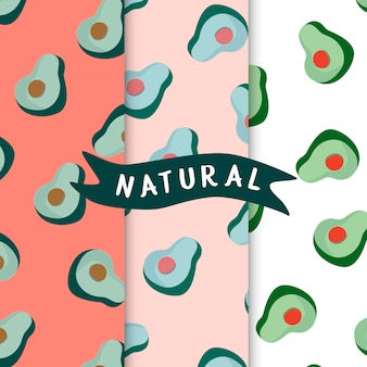 Set of natural avocado seamless patterns