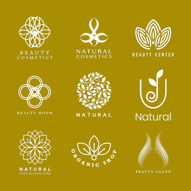 Set of natural cosmetics logo