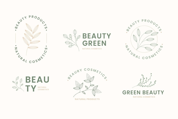 Set of natural cosmetics logos