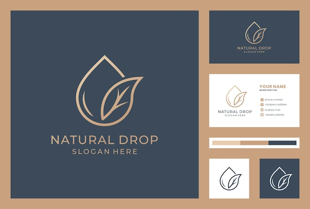 Set of natural drops logotype business card