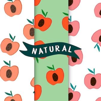 Set of natural fruit apple patterns vector