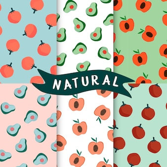 Set of natural fruit seamless patterns vector