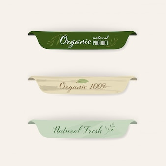 Set of natural label and organic badges design.