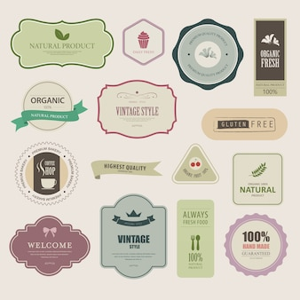 Set of natural label and organic banner.