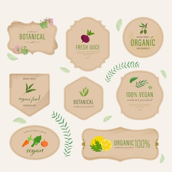 Set of natural label and organic vegan tags. farm fresh eco vintage labels collection watercolor hand drawn.