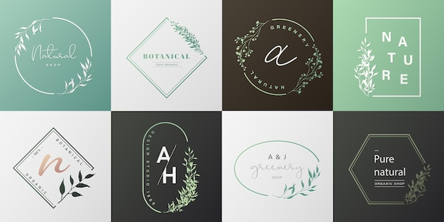 Set of natural logo for branding, corporate identity, packaging and business card.