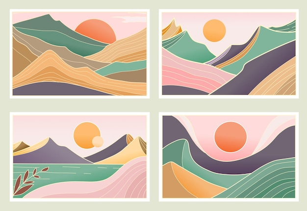 Set of natural mountain abstract aesthetic background Premium Vector
