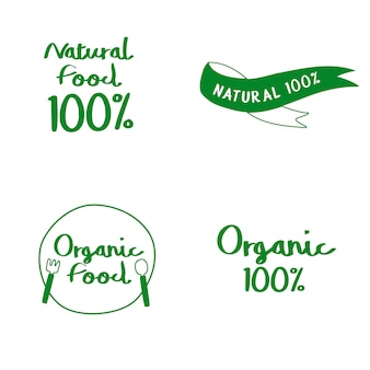 Set of natural and organic food typography vectors
