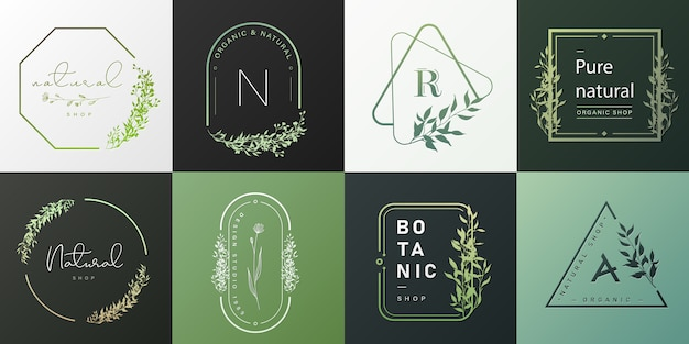 Set di logo naturale e organico per il branding, identità aziendale.