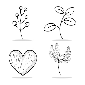 Set natural plants with leaves and heart