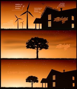 Set of nature banner poster design.