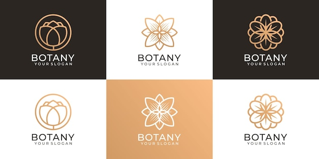 Set of nature botany beauty flower feminine logo vector