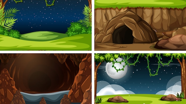 Set of nature landscape background