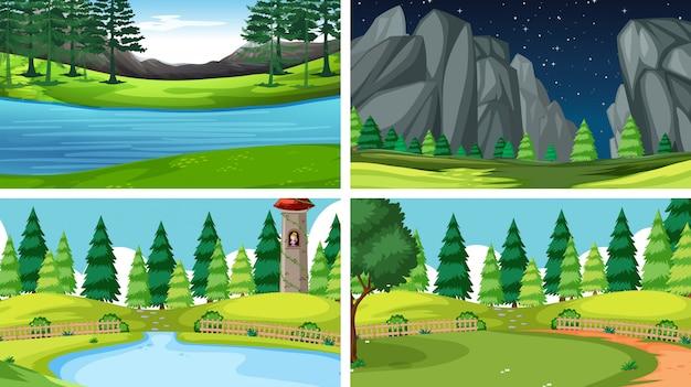 Set of nature landscape background