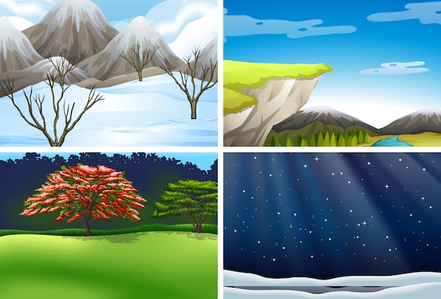 Set of nature landscape scene
