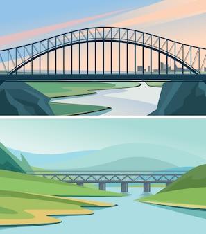 Set of nature landscape with bridges