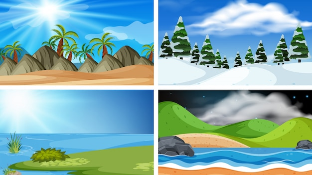 Set of nature landscape