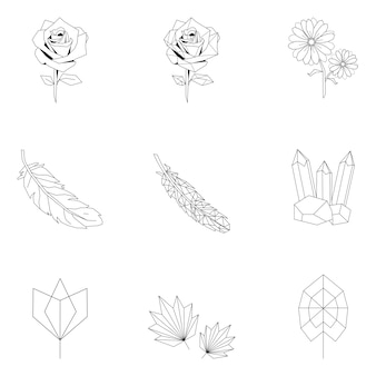 Set of nature linear illustration