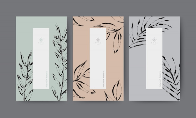 Set nature minimal banner for branding packaging. tropical summer plant and leaf with ink brush black outline stoke.
