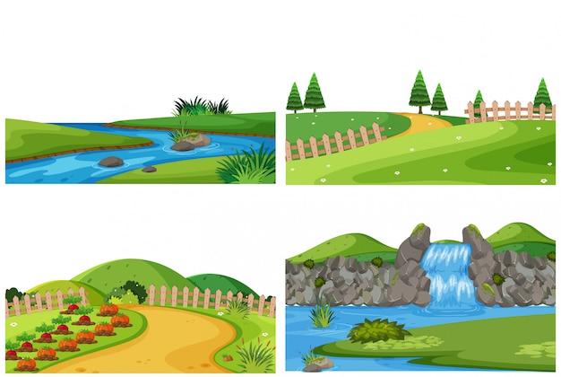 Set of nature outdoor landscape