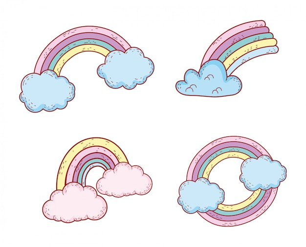 Set nature rainbow style weather with clouds