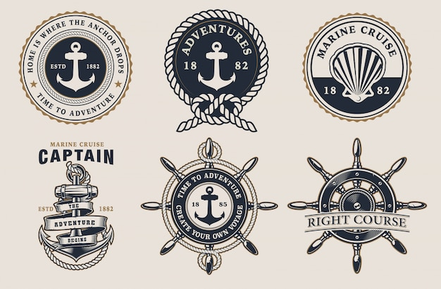 Set of nautical badges with steering wheel, anchor, seashell on the light background.