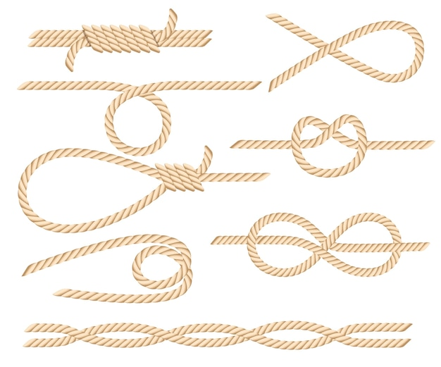 Set of nautical rope knots