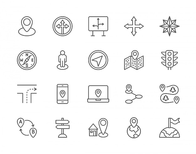 Set of navigation line icons