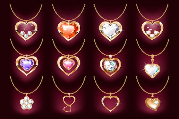 Set of necklaces with a heart pendant on a gold chain. with precious stones and diamonds in gold.