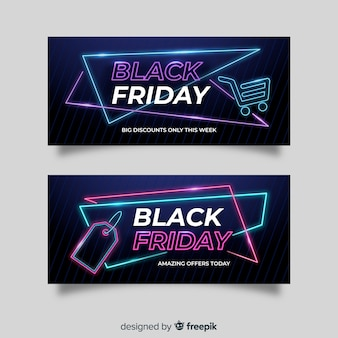 Set of neon black friday banners