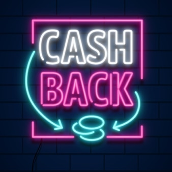 Set of neon cashback sign