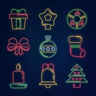 Set of neon christmas elements