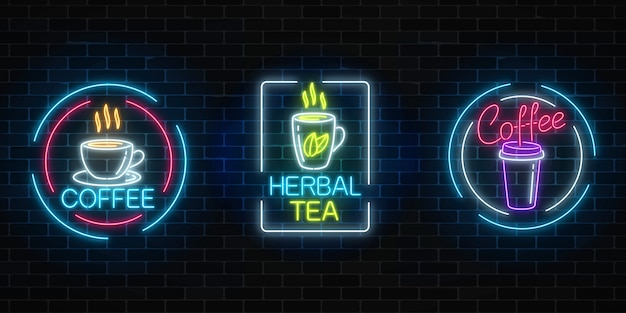 Set of neon coffee and tea signs with frames on dark brick wall background. hot drinks banners.