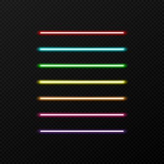 Set of neon color on transparent background