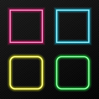 Set of neon frames of different colors. different colors of neon light png. neon, png frame. frames for text. neon lights.  image.