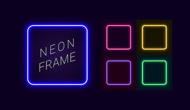 Set of neon frames with rounded corners