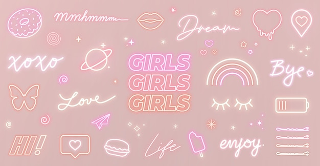 Set of neon girly signs and cute glowing icons on pink background