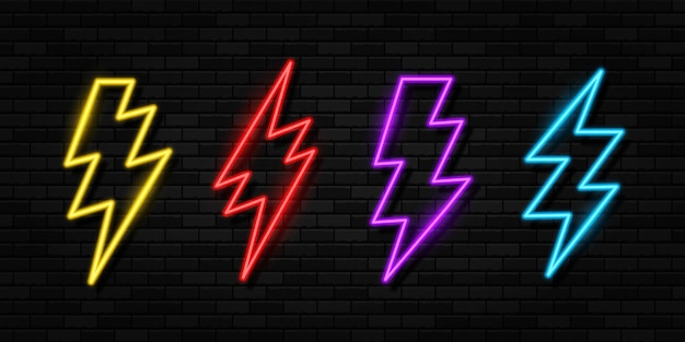 Set of neon glowing lighting ightning bolt icon thunder and electricity sign