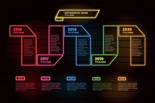 Set of neon infographics
