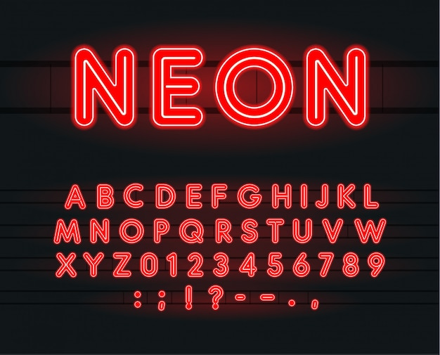 Set of neon letters, numbers and signs.