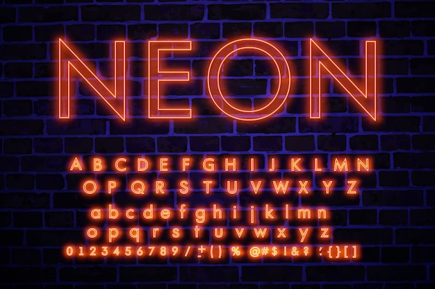 Set of neon letters and numbers